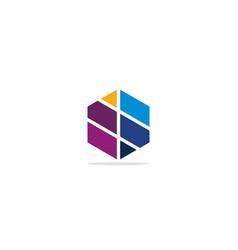 polygon shape colorful logo vector image