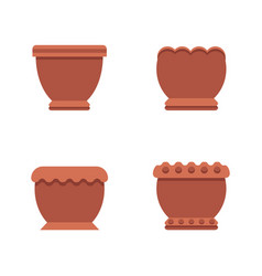 Pots of brown color collection vector