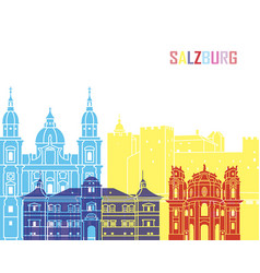 salzburg skyline pop vector image