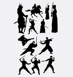 Samurai and ninja japanese warrior silhouettes vector