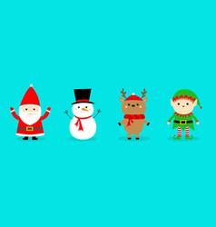 santa claus reindeer snowman elf deer line set vector image