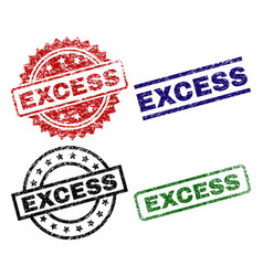 Scratched textured excess seal stamps vector