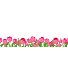 seamless horizontal pattern with tulips vector image