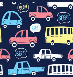 seamless pattern with cute cars on dark background vector image