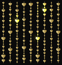 Seamless pattern with hanging gold hearts garlands vector