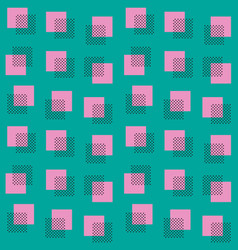 seamless squares and dots pattern in memphis vector image