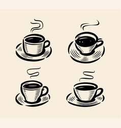 set of abstract coffee cup logo hand-drawn sketch vector image