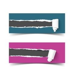 Set of banners torn paper with scroll and vector