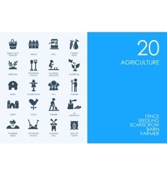 Set of BLUE HAMSTER Library agriculture icons vector image