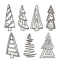 set of christmas trees hand drawn vector image