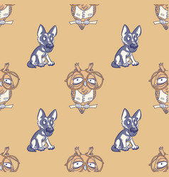 Silly dog and wise owl seamless pattern vector