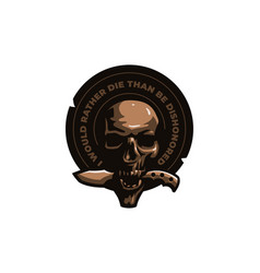 skull with a knife in his teeth vector image