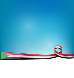 sudan ribbon flag on blue sky background vector image