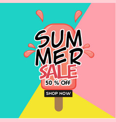 summer sale 50 off shop now ice cream colorful ba vector image