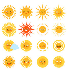 sun characters cute happy summer weather icons vector image