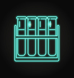 Test tube icon in neon line style vector