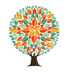 tree mandala leaf art with autumn leaves vector image