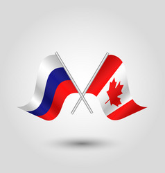 Two crossed russian and canadian flags vector