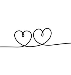 two hearts romantic continuous one line drawing vector image