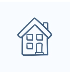 Two storey detached house sketch icon vector image