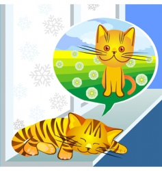 Vector winter dreams ginger cat vector