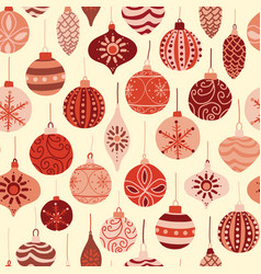 vintage christmas ornaments red and beige pattern vector image