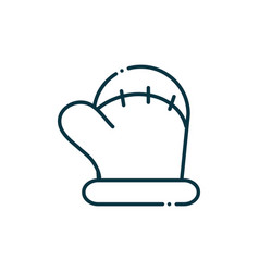warm mitten happy christmas line icon vector image