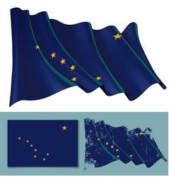 waving flag state alaska vector image