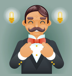 wealthy victorian gentleman businessman character vector image