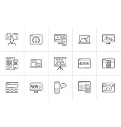 web development hand drawn outline doodle icon set vector image