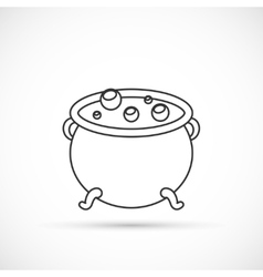Witch cauldron outline icon vector