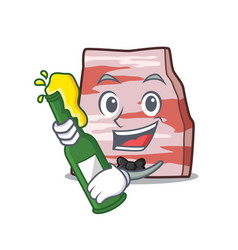 With beer pork lard mascot cartoon vector