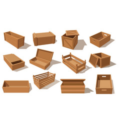 Wooden boxes parcels for goods packaging vector