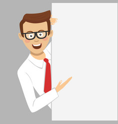 young businessman showing empty blank board vector image