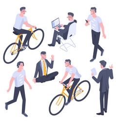 young men characters and poses vector image