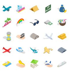 aeronautic icons set isometric style vector image vector image