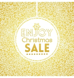 Gold Christmas Sale on doodle seamless pattern vector image vector image