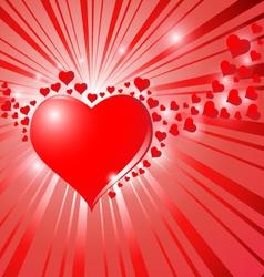 Hearts On Sunburst Background vector image vector image