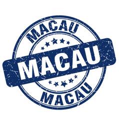 Macau blue grunge round vintage rubber stamp vector