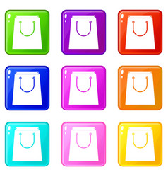 paper shopping bag icons 9 set vector image vector image