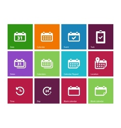 Calendar icons on color background vector image vector image