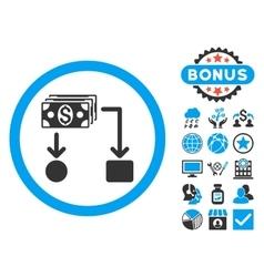 Cashflow Flat Icon with Bonus vector image