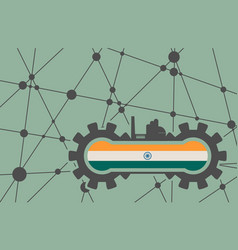 flag of the india build in gear vector image