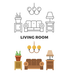 living room concept - flat and line style living vector image