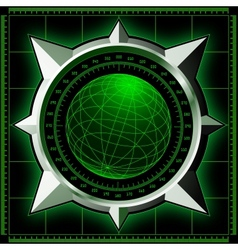 Radar screen with steel compass rose vector image vector image