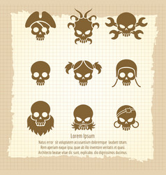 skull icons on vintage notebook page vector image