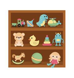 toys on wooden shelves toys on wooden shelves vector image