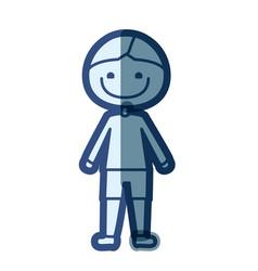 blue color silhouette cartoon boy icon vector image vector image
