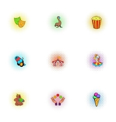 Concert in circus icons set pop-art style vector image
