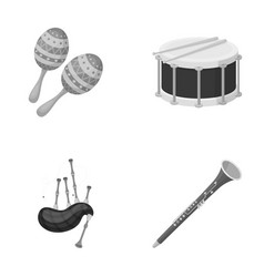 Maracas drum scottish bagpipes clarinet vector